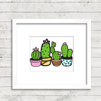 Cactus print - Cactus decor - Succulent print - Cactus art - PRINTABLE - Colorful wall art - Digital print - Housewarming gift
