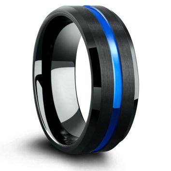 7mm Charcoal Black Tungsten Wedding Ring With Blue Carved Channel