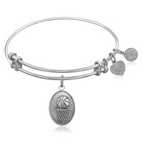 Expandable Bangle in White Tone Brass with Basketball Symbol