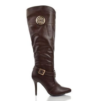Momentum89 Brown By Anne Michelle, Rhinestone Studded Emblem Pointed Toe Stiletto Zip Up Bootie