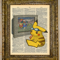 Vintage Dictionary Art Pikachu With Blue Goggles