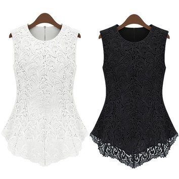 New Ladies Women Lace Blouse Sleeveless shirt vest Doll Chiffon Tops S M-XXL 8HO  D_L = 1708685060