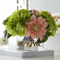 John-Richard Collection - Pale Pink & Green Faux-Floral Arrangement - Horchow