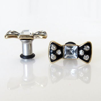 8g, 6g, 4g (3mm, 4mm, 5mm) / Bow Rhinestone / Plugs Gauges Stretchers Earrings / Stretched Gauged Ears