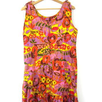 60s Floral Dress Flower Power Mod Mini Dress ABSTRACT Sundress Orange and Purple Hippie GO GO Op Art Sleeveless Dress Vintage Size Large