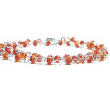 Genuine  Faceted Carnelian Necklace  ,  Gift For Her