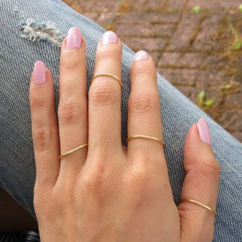 Thin Stacking Rings and Midi ring - Set of 4 Adjustable Gold or Silver Plated