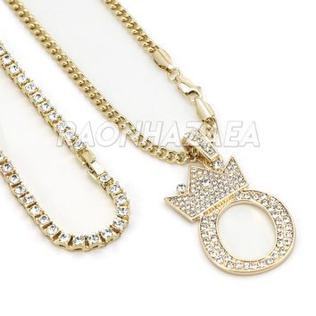 Iced Out Crown O Initial Pendant Necklace Set