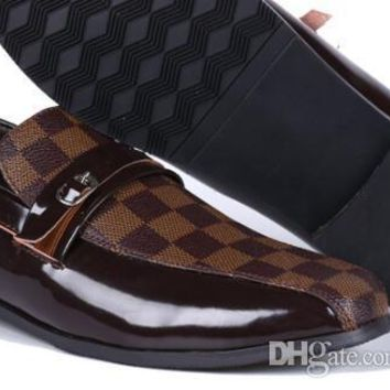 Genuine Real Leather Glossy Men Formal Shoes Lace Up