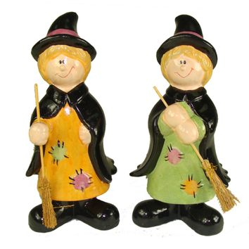 Club Pack of 36 Friendly Halloween Witch Table Top Figurines 8""