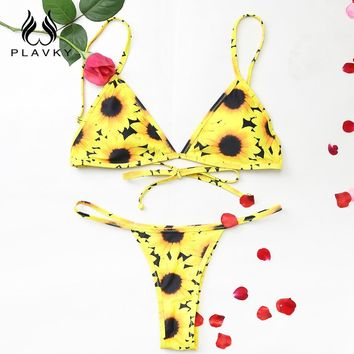 2018 Sexy Yellow Sunflower Floral Biquini Swim Wear Bathing Suit Swimsuit Micro Thong Swimwear Women Brazilian String Bikini