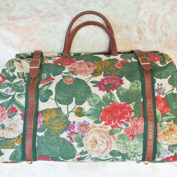 Floral weekender bag / large travel tote with leather buckles and strap