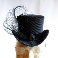 Striped Velvet Neo-Victorian Mini Top Hat  - Made to Order