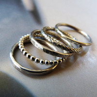 Sterling silver stackable ring, set of 5, metalwork jewelry, stacking ring