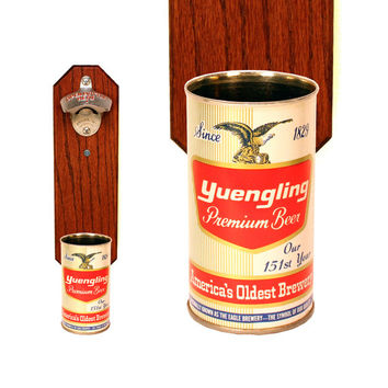 Wall Mounted Bottle Opener with Vintage Yuengling 151st Year Beer Can Cap Catcher, Gift for Groomsmen