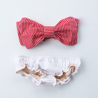Red and White Striped Bikini and sexy white ruffle panties.Vintage Bow Bandeau Sunsuit Bikini.Diva Halter neck top pinup style.Custom Made