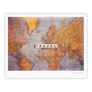 "Sylvia Cook ""Travel Map"" World Fine Art Gallery Print"