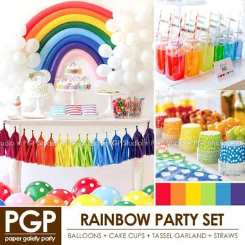 [PGP] Rainbow Party Set, Balloon Cake cups Tassel garland Straws,for Unicorn Easter Girls Kids birthday Spring Decoration