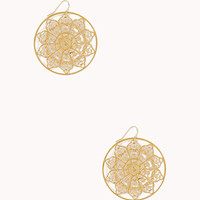FOREVER 21 Filigree Medallion Earrings Gold One
