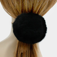 Large Rabbit Fur Pom Pom Ponytail Hair Band Elastic - Black
