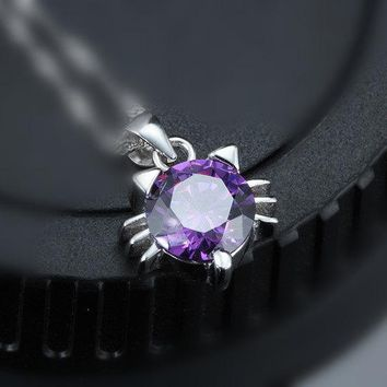 Tiny Amethyst Necklace - Super Swarovski Amethyst Cat Sterling Silver Necklace - Amethyst Diamond Pendant - High Quality Amethyst