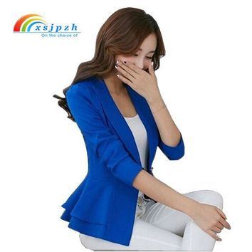 LMFCI7 XSJPZH 2017 Plus Size Blazers Jackets For Women Royal Blue Blazer Candy Color Slim Suit Flouncing Long-Sleeved Blazer  YC050