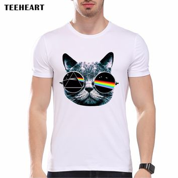 New 2017 Summer Vintage Pink Floyd Cat Print T Shirt Men's High Quality Punk O-neck Brand Tops Hipster Tees pb423