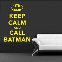 Wall Vinyl Sticker Decals Decor Art Words Sign Quote Keep Calm Call Batman (z1198)
