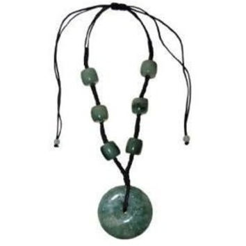 Jade Necklace Green Jade with Disc Pendant and Green Jade Barrel Beads Hand Carved adjustable