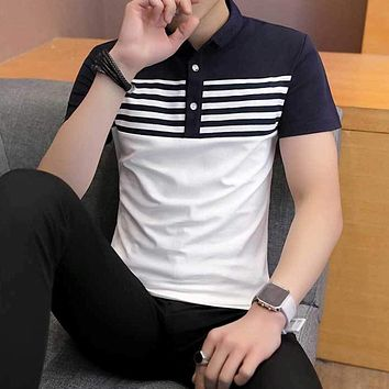 Mens Striped Two Tone Polo Shirt