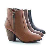 Arrogant Almond Toe Western Block Faux Wooden Heel Ankle Boots