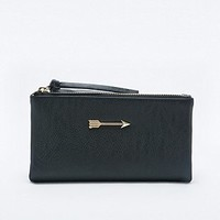 Ecote Arrow Double Zip Wallet in Black - Urban Outfitters