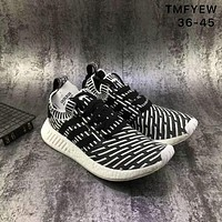Adidas NMD Runner R2 PK really popcorn bottom socks shoes running shoes F-XYXY-FTQ Black + white lines