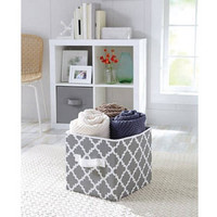 BH&G Collapsible Fabric Storage Cube, Set of 2,grey vertical Trellis(2)