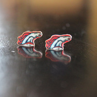 small Denver Bronco post earrings, light weight