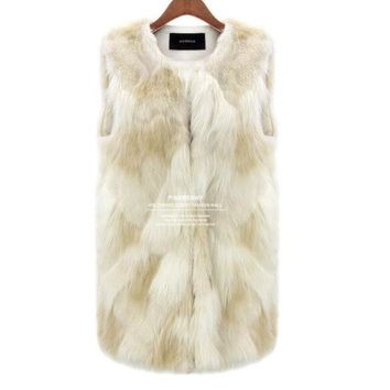 DCK9M2 [NEW] Sexy Fur Vest Women Rabbit Fur Vest Faux Fur Coats For Women Winter Autumn Brand Sale Fur Vest Coat Fashion Outwear S~3XL