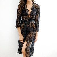 Apri Sexy Black Sheer Lace Robe