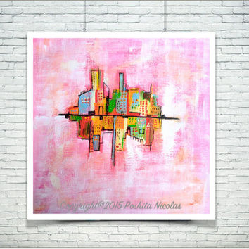 Urban House Modern Art Original Handmade Acrylic Painting Framed Wall Art  Room interior Home decor
