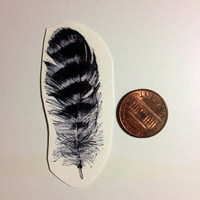 Temporary Tattoo Striped Feather by BlueHazelwood on Etsy