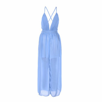 High Waist Empire Party Dresses Summer New Maxi Dress Women Floor-length Sleeveless Sexy Deep V neck Long Dress