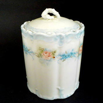 Biscuit Jar, Cookie Jar, Ceramic Lidded Container, Vanity or Cosmetic Storage, Bath Decor, Cottage, Farmhouse Decor, 1980s