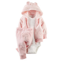 Carter's Girls Light Pink Striped Terry Zip Up Hooded Cardigan, White Slogan Bodysuit and Bear Applique Pant Set