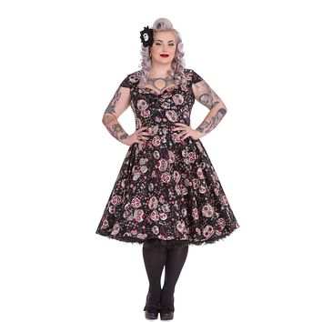 Hell Bunny Calavera Day of the Dead Flower Sugar Skull Print Black Party Dress