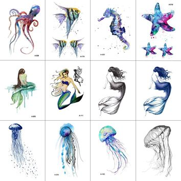 WYUEN 12 PCS/lot Hippocampus Mermaid Sea Animal Temporary Tattoo Sticker for Women Men Body Art Hand Fake Tatoo 9.8X6cm W12-09