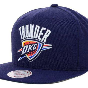ONETOW Mitchell & Ness NBA Oklahoma City Thunder Basic Logo Snapback Hat in Navy