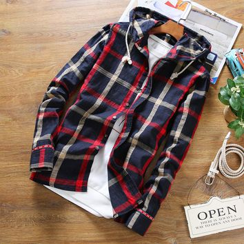 Large size S-5XL 2016 stylish men fall slim linen fabric long-sleeved shirt/Male upscale hooded casual linen grid shirts/