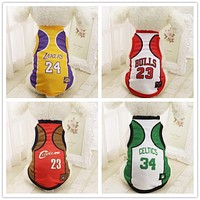 Summer Fashion Sport Basketball Dog Clothes Costume Chihuahua Pet Dog Clothing Cool Breathable Cat Shirt Vest XS-2XL