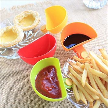 4pcs/set Sauce Gravy Plate Pepper Relish With Clip Gravy Boats Trays Gravy Sauce Boat Container Plate Kitchen Tableware Cup Bowl