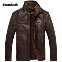 Leather Jacket Men Coats High Quality Outerwear Men Business Winter Faux Fur Male Jacket