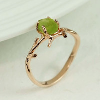 Rosegold Branch Rough Peridot Ring